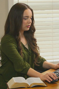 Young woman using computer
