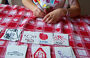 Girl coloring flash cards