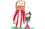 Child's drawing of Jesus and a child