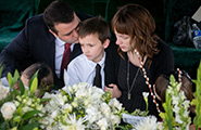 Family mourning at a funeral