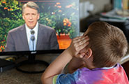 Boy watching General Conference