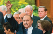 President Monson waving at General Conference