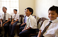 Boys sitting in a primary class