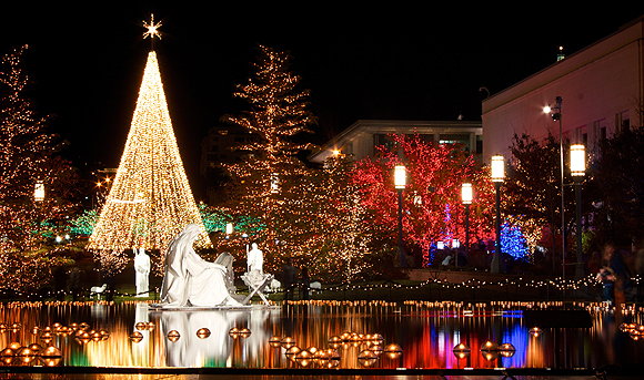 Nativity and Christmas light displays on Temple Square