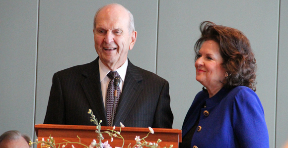 Wendy Watson standing next to her husband Russell M. Nelson