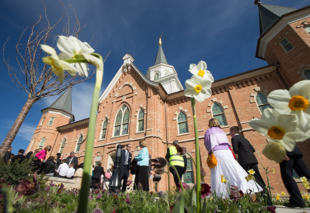 General Authorities And Temple Presidency Members And Their Wives Make  Their Way To The Cornerstone Ceremony For The Provo City Center Temple  Dedication ...