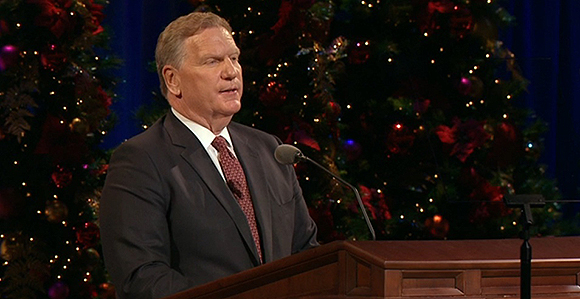 elder craig c christensen of the presidency of the seventy speaks during the first presidencys christmas devotional december 4 at the conference center in