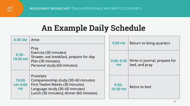 example of a daily schedule