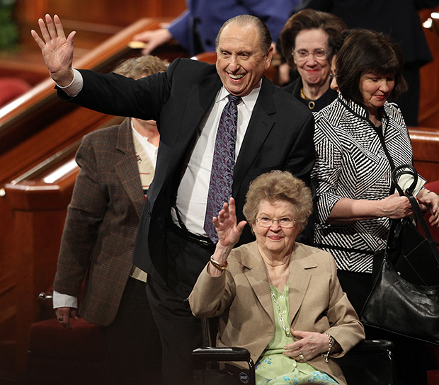 President Thomas S. Monson And His Wife, Frances, Wave To The Crowd After  The 181st Annual General Conference On Sunday, April 3, 2011, In Salt Lake  City, ...