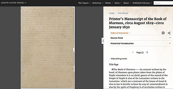 Book of Mormon Printer's Manuscript Is Now Online - Church