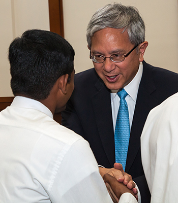 Elder Gerrit W. Gong greets missionaries in India.