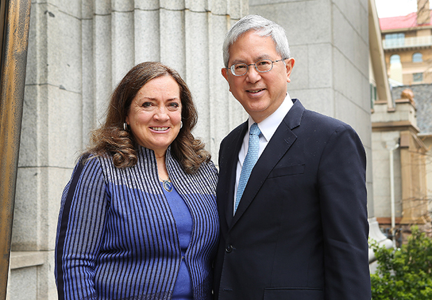 Elder Gerrit W. Gong, newly sustained as a member of the Quorum of the Twelve Apostles, and his wife, Sister Susan Gong, in Salt Lake City. Photo by Jeffrey D. Allred, Deseret News.