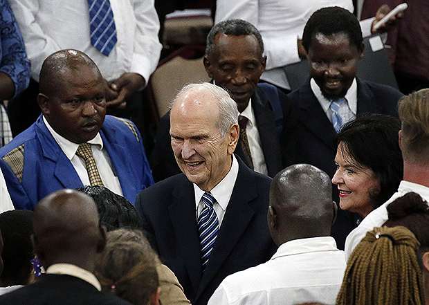 London and nairobi stops of president nelsons world tour highlight president russell m nelson and sister wendy nelson greet some of those in attendance following a special devotional in nairobi kenya on monday april 16 m4hsunfo