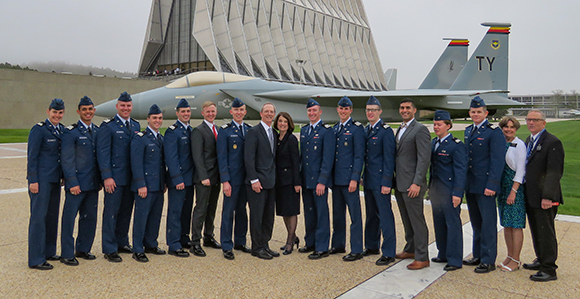 Sunday school general president gives lds air force graduates 8 graduating seniors stand with guest speaker brother tad r callister and his wife sister kathryn s callister along with brother and sister lee malvernweather Gallery