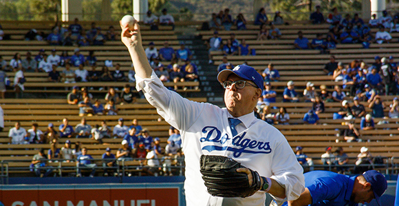 41837c45032 Elder Robert C. Gay of the Presidency of the Seventy throws out the  ceremonial first pitch during the annual Mormon Night at Dodger Stadium on  June 9
