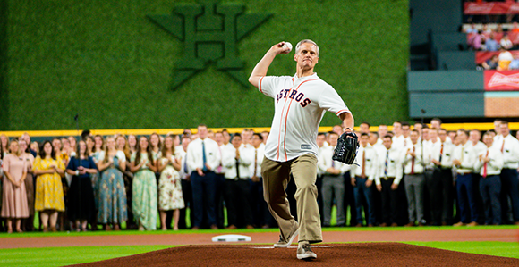 Elder Bednar Throws Perfect First Pitch at Houston Astros