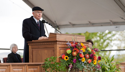Elder Oaks at pulpit for Payson Utah Temple Groundbreaking