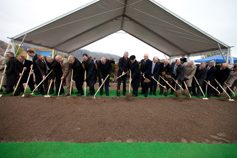 Elder Oaks and Stake Presidents break ground for the Payson utah Temple