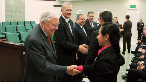 Elder Ballard and missionaries in Mexico