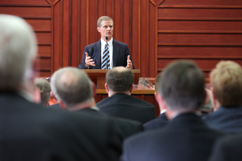 Elder Bednar at pulpit