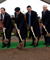 Elder Oaks with church and civic leaders turning soil