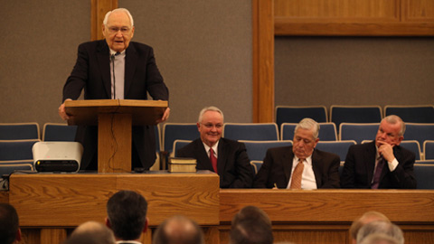 Elder Perry at the pulpit