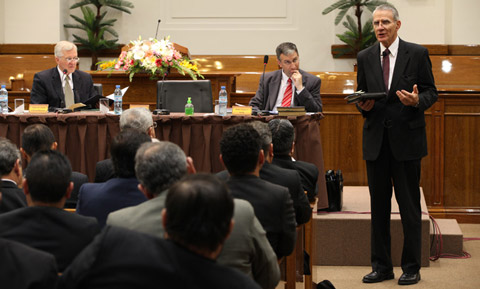 Elder Jay E. Jensen at priesthood leadership meeting Argentina