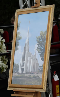 An artist's rendition of the Rome Italy Temple was on display at the groundbreaking.