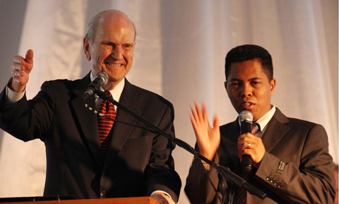 Elder Nelson with interpreter
