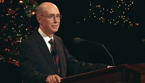 President Eyering speaking at the 2010 Christmas devotional