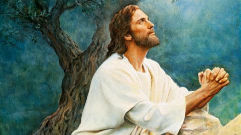 The Savior praying in the Garden of Gethsemane