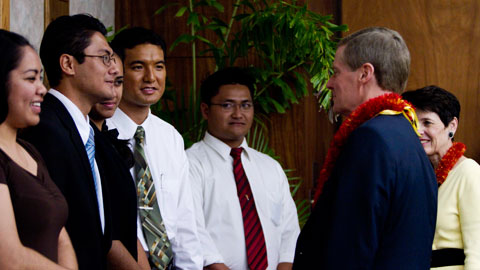 Elder and Sister Bednar at BYU Hawaii