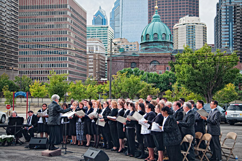 Choir at philadelphia temple groundbreaking