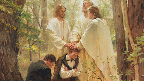 Peter, James. and John conferring the priesthood on Joseph Smith