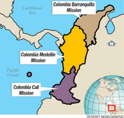 Map showing the Columbia Medellin Mission Boundaries