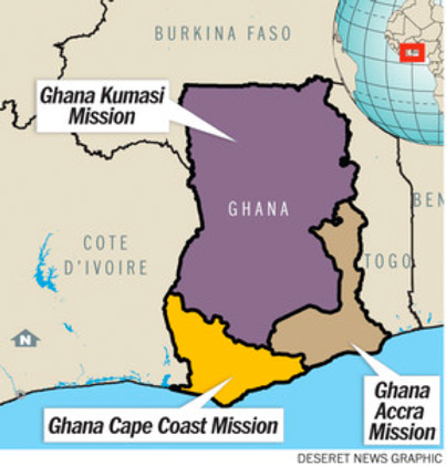 Map of The Ghana Kumasi Mission