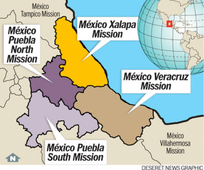 Eight New Missions Created in 2012 Church News and Events – Map Puebla Mexico