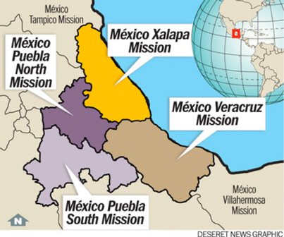 Map of the Mexico Xalapa and Puebla Missions