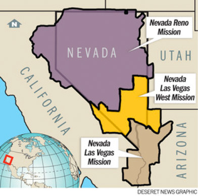 Map of the Nevada Reno mission boundaries
