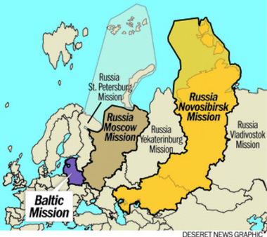 Map of Russia Moscow West mission boundaries