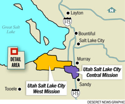 Map of the Utah Salt Lake City Central and West mission boundaries