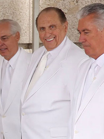 Church President Thomas S. Monson and President Dieter F. Uchtdorf, Second Counselor in the First Presidency, at the cornerstone ceremony for the Kyiv Ukraine Temple.