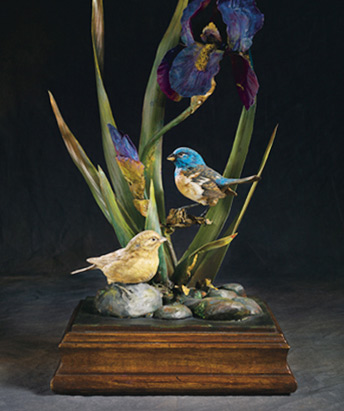 Bird and Iris sculpture
