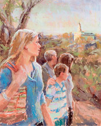 Painting of a family walking near the temple.