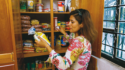 Woman looking through food storage