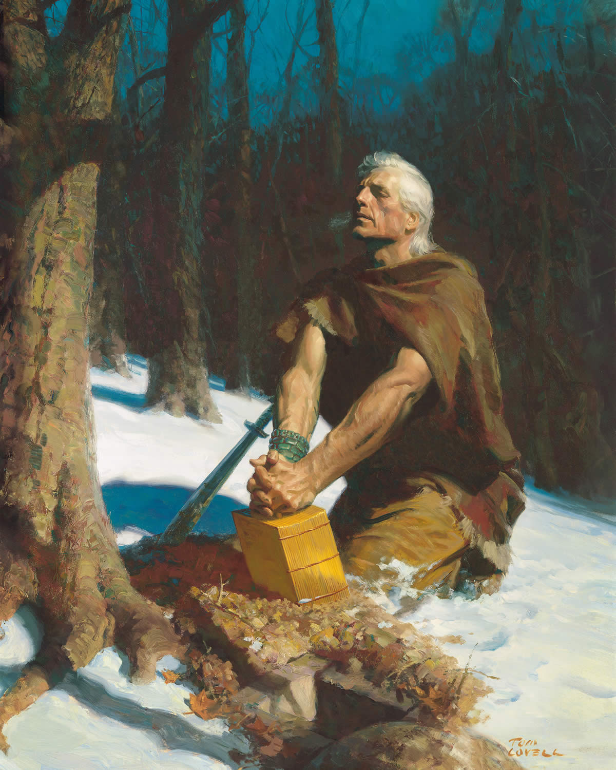 Prophet Moroni buries the sacred records of his people in the Hill Cumorah