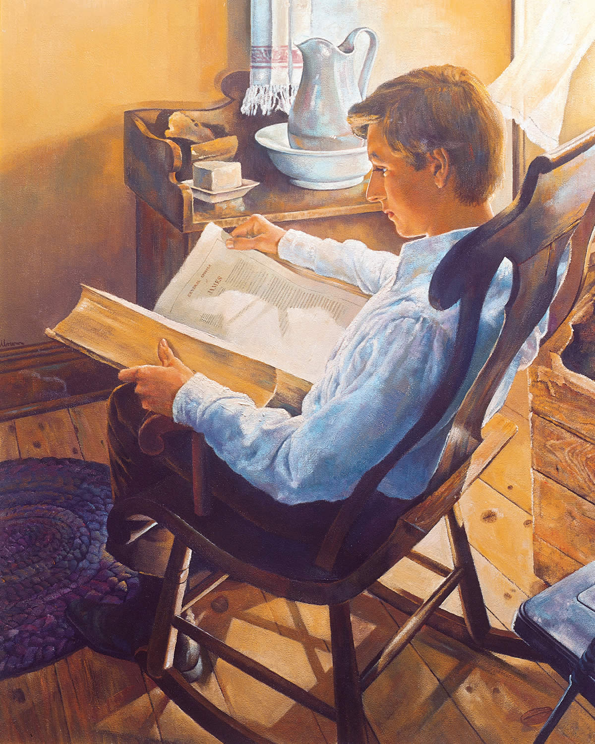 Joseph Smith reading the Holy Bible