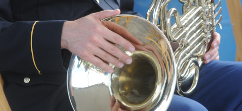 Hands holding a French horn