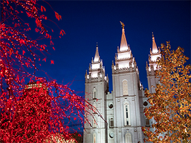 Temple Square with Christmas Lights