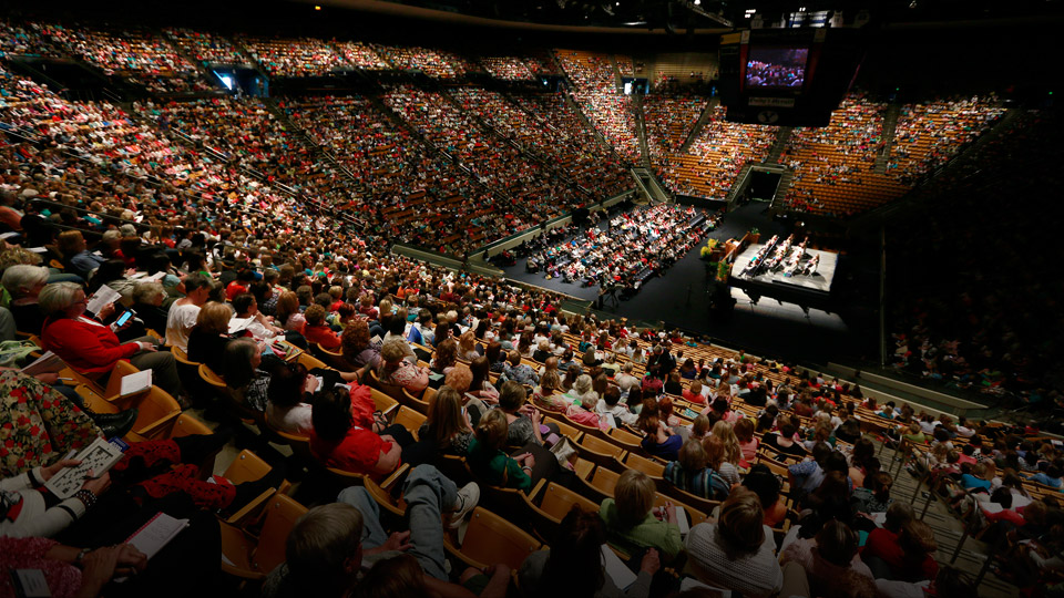 women's conference in the BYU Marriott Center